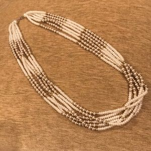 6-strand faux-pearl oversized necklace